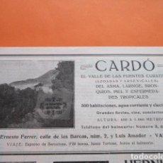 Folletos de turismo: RECORTE PUBLICIDAD 1929 - BALNEARIO DE CARDO TARRAGONA - 21 X 8 CM. Lote 204521926