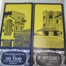 Folletos de turismo: PARADOR DE SAN TELMO TUY Y EL DE MONTERREY VERIN ORENSE AÑOS 60. Lote 207111861