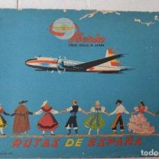 Folletos de turismo: IBERIA LÍNEAS AÉREAS ESPAÑOLAS 1960. 5 RUTAS DE ESPAÑA. FOLLETO PUBLICITARIO. AVIACIÓN. RARO. Lote 207123702