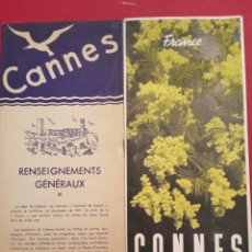 Folletos de turismo: 1940 FOLLETO CANNES FRANCIA FRANCE. Lote 207339937