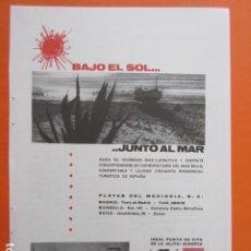 Folletos de turismo: PUBLICIDAD AÑO 1963 - MARBELLA PLAYAS DEL MEDIODIA SKOL 1 HOJAS - TAMAÑO 13 X 18.5 CM. Lote 207816417
