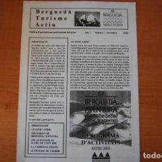 Folhetos de turismo: FULLETÓ REVISTA BERGUEDÀ TURISME ACTIU. ANY 1. N. 1. SETEMBRE 2002. Lote 208079093