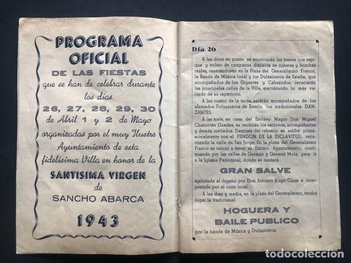 Folletos de turismo: TAUSTE AÑO 1943 ( ZARAGOZA ) PROGRAMA DE FIESTAS / NUESTRA SEÑORA DE SANCHO ABARCA - Foto 2 - 208391683