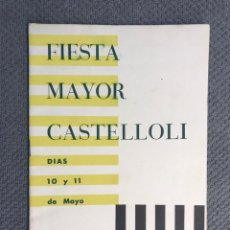 Folhetos de turismo: CASTELLOLI - IGUALADA. FIESTA MAYOR (MAYO DE 1959). Lote 209692112