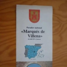 Folletos de turismo: FOLLETO DE TURISMO PARADOR NATIONAL - MARQUÉS DE VILLENA - ALARCÓN , CUENCA ( EN FRANCÉS ) AÑOS 80. Lote 211945386
