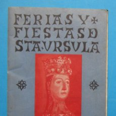 Folletos de turismo: FERIAS Y FIESTAS DE SANTA ÚRSULA. VALLS, TARRAGONA, 1945.. Lote 211979816