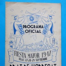 Folletos de turismo: PRAT DE LLOBREGAT. PROGRAMA OFICIAL. FIESTA MAYOR DE 1947. PROVINCIA DE BARCELONA.. Lote 211996846