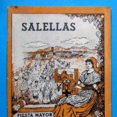 Folletos de turismo: SALELLAS FIESTA MAYOR, 1948. PROVINCIA DE BARCELONA.. Lote 212083498