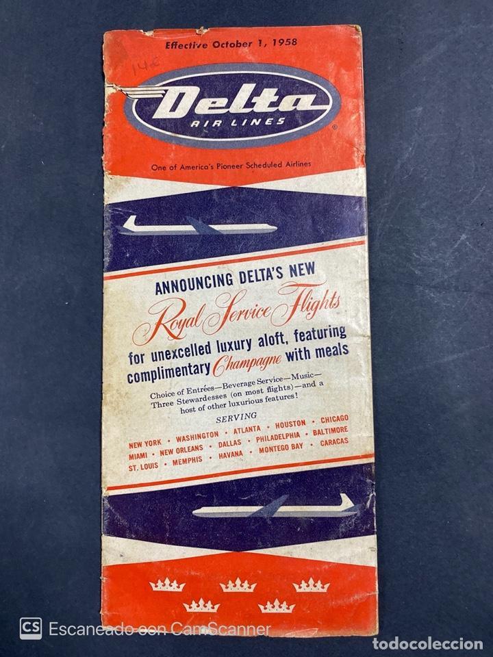DELTA AIR LINES. ROYAL SERVICE FLIGHTS. INFORMACION DE VUELOS. 1958. (Coleccionismo - Folletos de Turismo)