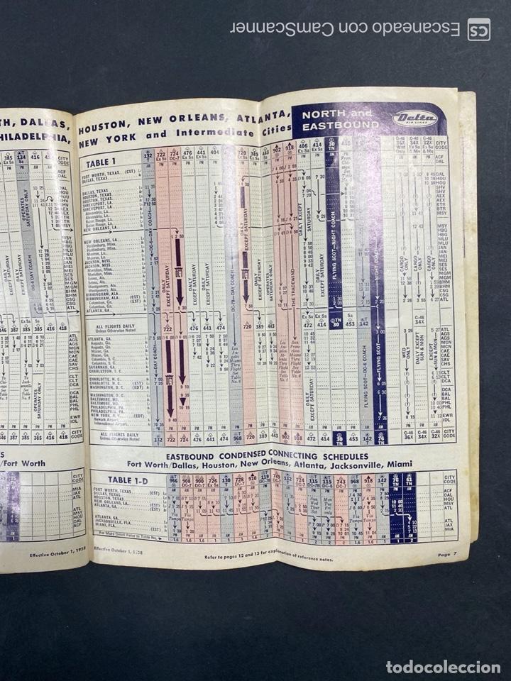 Folletos de turismo: DELTA AIR LINES. ROYAL SERVICE FLIGHTS. INFORMACION DE VUELOS. 1958. - Foto 5 - 213767827