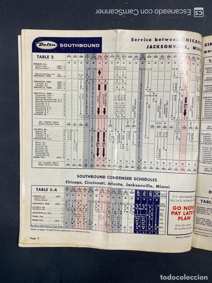Folletos de turismo: DELTA AIR LINES. ROYAL SERVICE FLIGHTS. INFORMACION DE VUELOS. 1958. - Foto 6 - 213767827