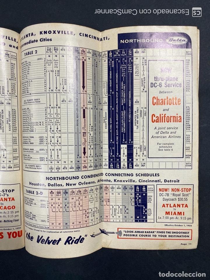 Folletos de turismo: DELTA AIR LINES. ROYAL SERVICE FLIGHTS. INFORMACION DE VUELOS. 1958. - Foto 9 - 213767827