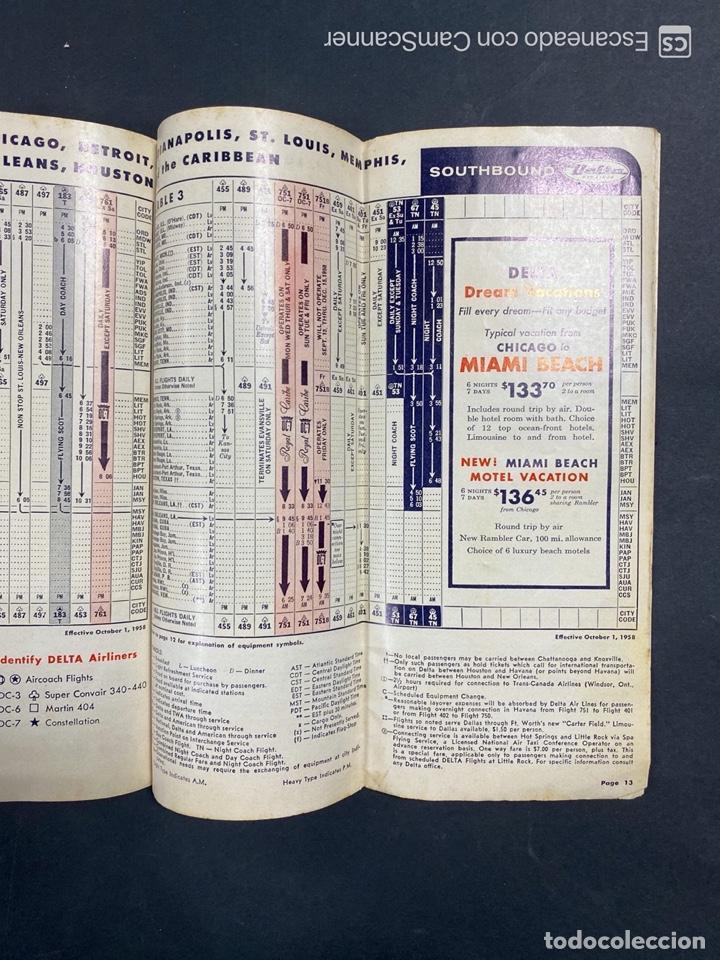 Folletos de turismo: DELTA AIR LINES. ROYAL SERVICE FLIGHTS. INFORMACION DE VUELOS. 1958. - Foto 11 - 213767827
