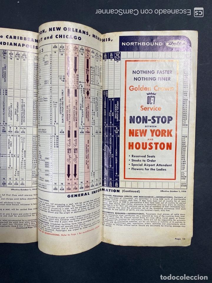 Folletos de turismo: DELTA AIR LINES. ROYAL SERVICE FLIGHTS. INFORMACION DE VUELOS. 1958. - Foto 13 - 213767827