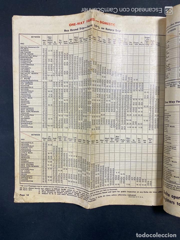 Folletos de turismo: DELTA AIR LINES. ROYAL SERVICE FLIGHTS. INFORMACION DE VUELOS. 1958. - Foto 16 - 213767827
