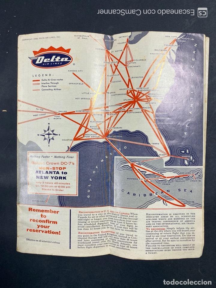 Folletos de turismo: DELTA AIR LINES. ROYAL SERVICE FLIGHTS. INFORMACION DE VUELOS. 1958. - Foto 18 - 213767827