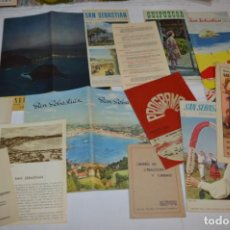 Folletos de turismo: SAN SEBASTIÁN / GRAN LOTE VARIADOS DE FOLLETOS DE TURISMO Y OTROS DOCUMENTOS / AÑOS 50 ¡MIRA FOTOS!. Lote 214988687