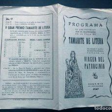 Folletos de turismo: PROGRAMA FIESTAS / TAMARITE DE LITERA AÑO 1947 / HUESCA / VIRGEN DEL PATROCINIO /. Lote 217143317