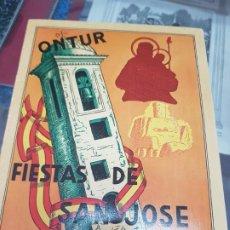 Folletos de turismo: ANTIGUO PROGRAMA FIESTAS DE SAN JOSE ONTUR ALBACETE 1959. Lote 217675476