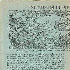 Folletos de turismo: 1936 XI JUEGOS OLÍMPICOS DE BERLÍN - IV JUEGOS OLÍMPICOS DE INVIERNO 1936 GARMISCH-PARTENKIRCHEN. Lote 220557093