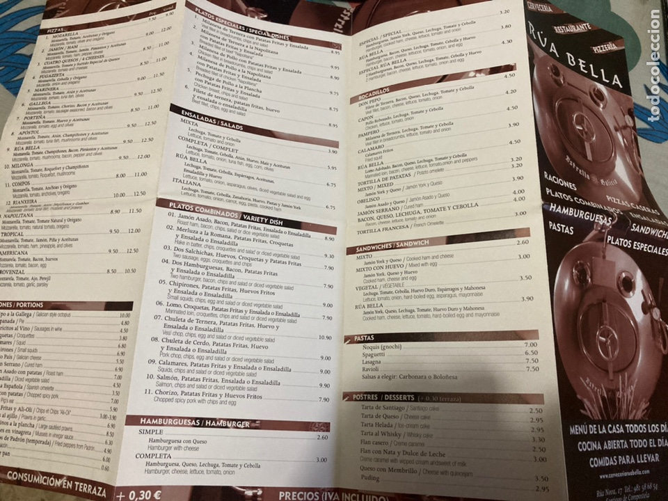 Folletos de turismo: Plano del centro de Santiago de Compostela, Editado por el Restaurante Rúa Bella - Foto 5 - 222291151
