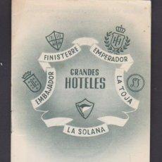 Folletos de turismo: FOLLETO TURISMO GRANDES HOTELES FINISTERRE ENPERADOR. Lote 222563480