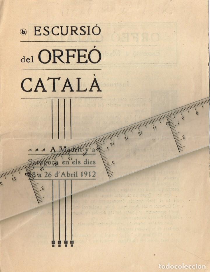 1912 ESCURSIÓ DEL ORFEÓ CATALÀ A MADRIT Y A SARAGOÇA EN ELS DÍES 18 A 26 D´ABRIL (Coleccionismo - Folletos de Turismo)