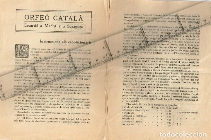 Folletos de turismo: 1912 Escursió del Orfeó Català a Madrit y a Saragoça en els díes 18 a 26 d´Abril - Foto 2 - 228190380