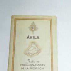 Folletos de turismo: ANTIGUO FOLLETO DE TURISMO DE AVILA - MAPA DE COMUNICACIONES DE LA PROVINCIA - MIDE 17X11,5 CMS - AÑ. Lote 228342830
