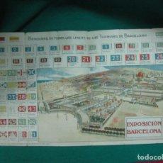 Folletos de turismo: EXPOSICION BARCELONA 1929. BANDERAS DE TODAS LAS LINEAS DE LOS TRANVIAS DE BARCELONA. REVERSO PLANO. Lote 229503120