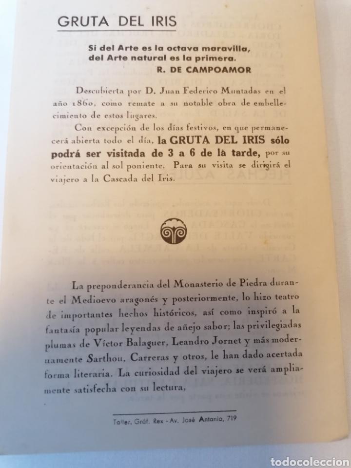 Folletos de turismo: Monasterio de Piedra. Zaragoza. Diptico. Guía visitante. Años 40 aprox - Foto 2 - 230648430