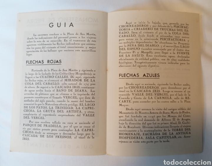 Folletos de turismo: Monasterio de Piedra. Zaragoza. Diptico. Guía visitante. Años 40 aprox - Foto 3 - 230648430