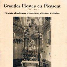 Folhetos de turismo: FIESTAS EN PICASSENT AÑO 1948. Lote 231702815