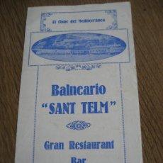 Folletos de turismo: SAN FELIU DE GUIXOLS. 1929. BALNEARIO SANT TELM.. Lote 235555120