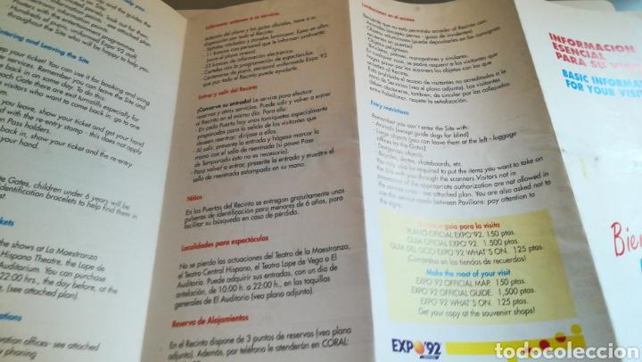 Folletos de turismo: PANFLETO INFORMACIÓN EXPO 92 SEVILLA PLANO GUÍA EXPOSICIÓN SEVILLA 1992 - Foto 3 - 236736180