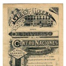 Brochures de tourisme: ZARAGOZA - GRAN HOTEL DEL UNIVERSO Y DE LAS CUATRO NACIONES - PLANO CIUDAD - 153X118. Lote 242976430
