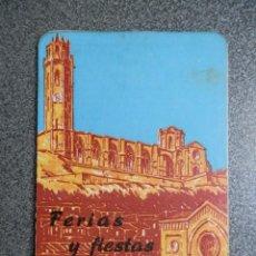Folletos de turismo: LÉRIDA PROGRAMA DE FIESTAS DE BOLSILLO DEL AÑO 1951 - PUBLICIDAD AGRISALVA CONTR EL ESCARABAJO. Lote 244608770