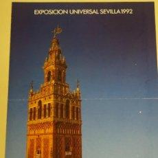 Folletos de turismo: DOCUMENTO TURÍSTICO. EXPO SEVILLA 92 1992. DÍPTICO DE LA EXPOSICIÓN. 198. Lote 244764995