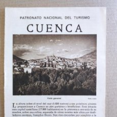 Folletos de turismo: PNT - CUENCA - FOLLETO TURISTICO - PATRONATO NACIONAL DE TURISMO. Lote 248194900