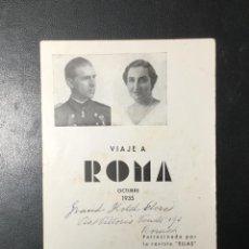 Folletos de turismo: D. JUAN DE BORBON Y MARÍA DE LAS MERCEDES , 1935 ,VIAJE A ROMA A LA BODA , REVISTA ELLAS.. Lote 249543580