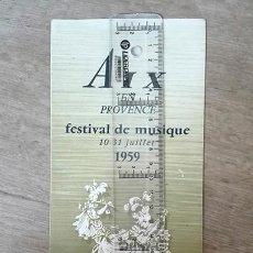 Folletos de turismo: PROGRAMA FESTIVAL DE MÚSICA, 1959 (AIX-EN-PROVENCE. FRANCIA).. Lote 250258840