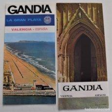 Folletos de turismo: DOS FOLLETOS TURÍSTICOS AÑOS 60 EN FRANCÉS DE GANDÍA (VALENCIA). Lote 252319130