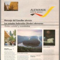 Folletos de turismo: EXPO´92 SEVILLA. ALEMANIA. (C/A28). Lote 253891180
