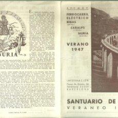 Foglietti di turismo: C3.- SANTUARIO DE NURIA -CARALPS-RIBAS-VERANO DE 1947-FERROCARRIL ELECTRICO-HORARIO Y PRECIO. Lote 254137275