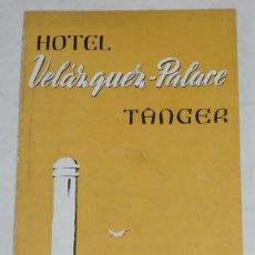 Folletos de turismo: FOLLETO DEL HOTEL VELAZQUEZ PALACE, TANGER, DESPLEGABLE, MIDE CERRADO 22 X 11 CMS.. Lote 261166810
