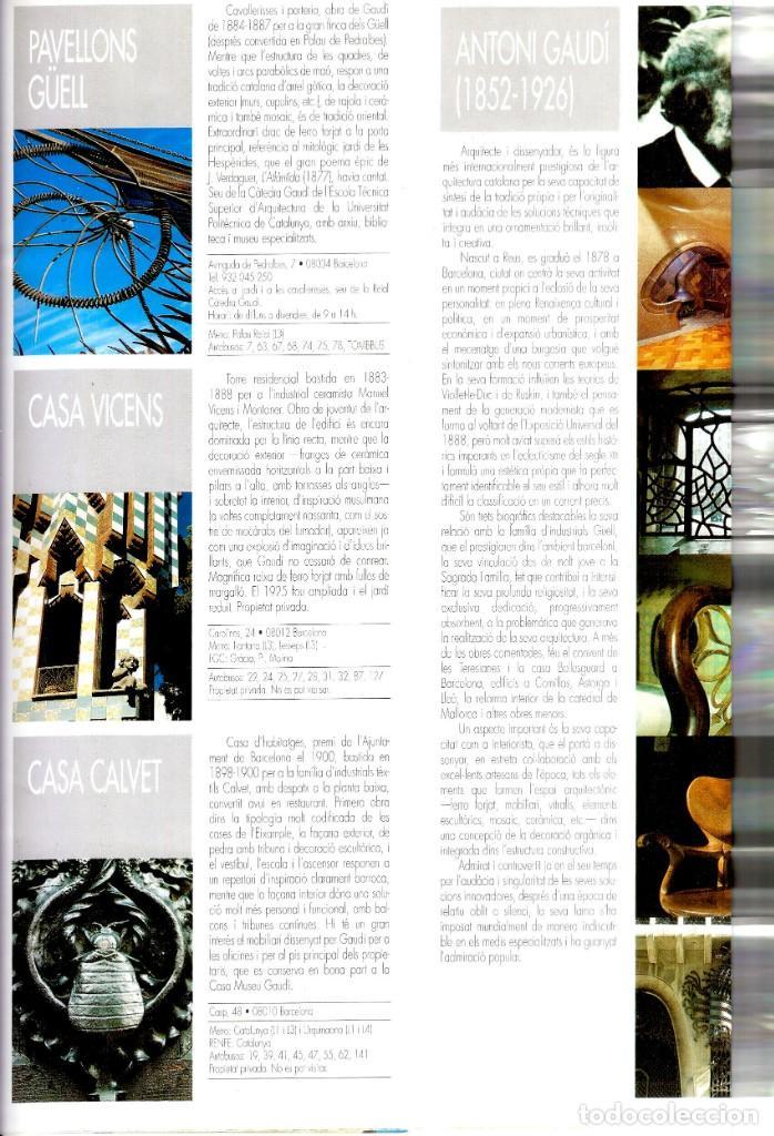 Folletos de turismo: Any Internacional Gaudí - Gaudí 2002 -Folleto turístico- Sitios emblemáticos en Barcelona -320x120mm - Foto 3 - 262058135