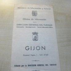 Folhetos de turismo: CURIOSA GUÍA DE GIJÓN AÑOS 50 O COMIENZOS 60 DESPLEGABLE DE 12 PÁGINAS. Lote 264295084