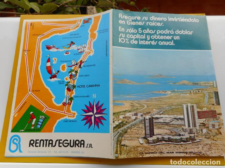 ANTIGUO FOLLETO HOTEL CAVANNA RENTASEGURA S.A PEDRO PAN LA TORRE.LA MANGA MAR MENOR.MURCIA 1972 (Coleccionismo - Folletos de Turismo)