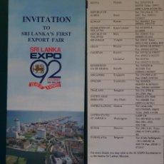 Folhetos de turismo: FOLLETO DOCUMENTO TURÍSTICO. EXPO SEVILLA 92 1992. SRI LANKA EXPORT FAIR. 38. Lote 268749134