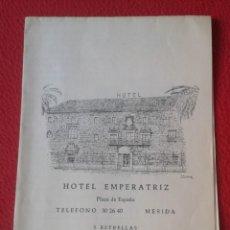 Folletos de turismo: ANTIGUO FOLLETO PLEGADO PUBLICIDAD HOTEL EMPERATRIZ DE MÉRIDA BADAJOZ EXTREMADURA 3 ESTRELLAS PLANO.. Lote 268917264